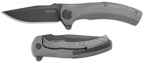 Kershaw 3490 Seguin Les George EDC Assisted Open Flipper Folder Gray PVD Clip Point Bead Blast Steel Frame Lock