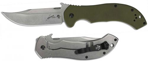 Kershaw Emerson 6030 CQC-10K Knife Emerson Wave Clip Point Green G10 Framelock Folder