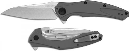 Kershaw 7777 Bareknuckle Stonewash Drop Point Gray Aluminum KVT Flipper Folder USA Made