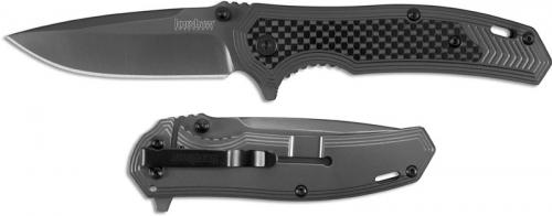 Kershaw 8310 Fringe Gray Drop Point Gray Steel and Carbon Fiber SpeedSafe Flipper Folder