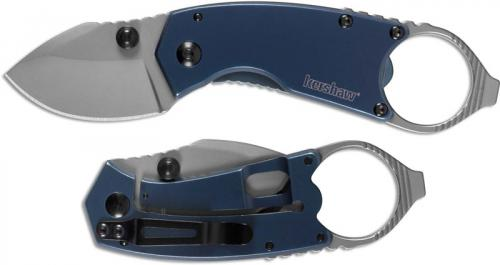 Kershaw 8710 Antic Compact EDC Bead Blast Drop Point Blue Steel Handle with Frame Lock and Ring Pommel
