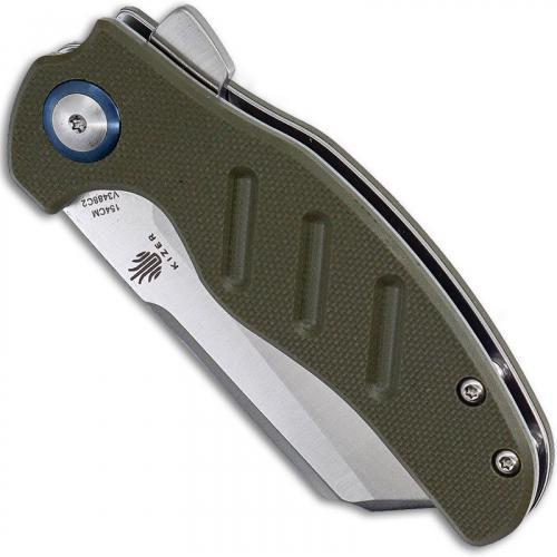 Kizer Vanguard c01c Mini Sheepdog V3488C2 - Chris Conaway - Satin 154CM Cleaver Style - Green G10 - Liner Lock Flipper Folder