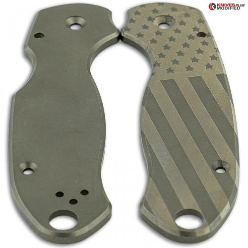 ENGRAVED Flytanium Titanium Scales for Spyderco Para 3 - US Flag - Stonewash Finish