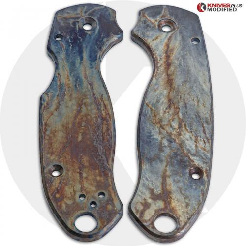 MODIFIED Flytanium Titanium Scales for Spyderco Para 3 Knife - MAYHEM FINISH