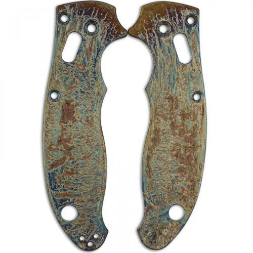 MODIFIED Flytanium Titanium Scales for Spyderco Manix 2 G10 Knife - MAYHEM FINISH