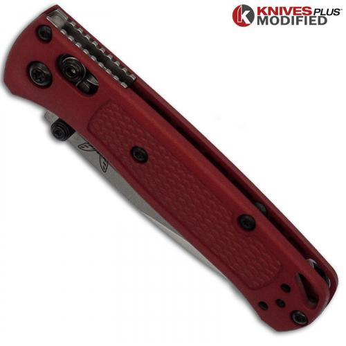MODIFIED Benchmade Mini Bugout Red Dragon 533 Knife - Satin Blade - Rit Dyed Handle