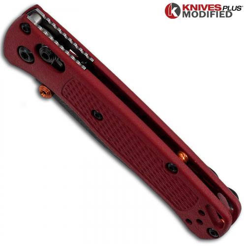 MODIFIED Benchmade Mini Bugout Red Dragon 533 Knife - Acid Stonewash - Rit Dyed Handle