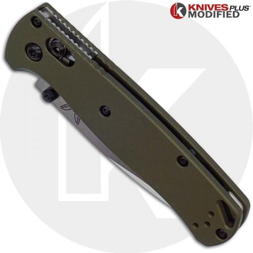 MODIFIED Benchmade Bugout 535 + AWT OD Green Aluminum Scales + KP Black Thumbstud & Standoffs