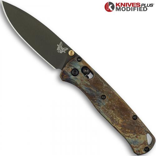 MODIFIED Benchmade Bugout 535GRY-1 Knife & Titanium Flytanium Scales - MAYHEM FINISH