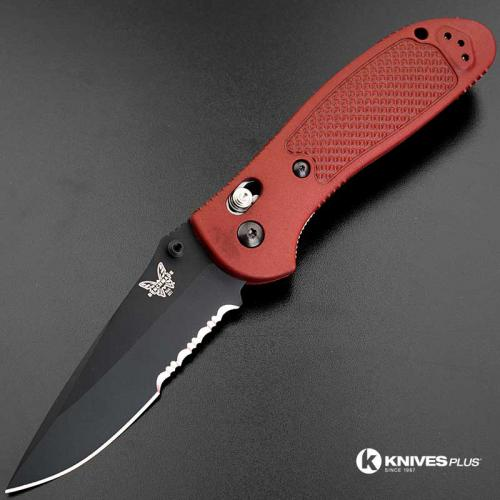 MODIFIED Benchmade Griptilian 551SBKSN - Part Serrated Black Blade - Blood Rit Dye Handle