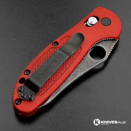 MODIFIED Benchmade Mini Griptilian 555HG - The Red Dragon - Acid Stonewash - Sheepsfoot
