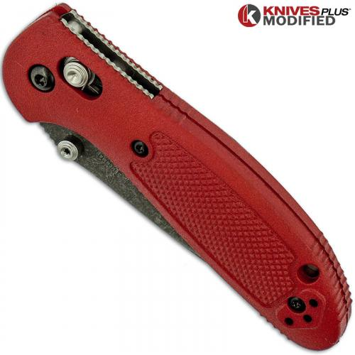 MODIFIED Benchmade Mini Griptilian Knife 556 - S30V - The Red Dragon - Acid Stonewash Blade