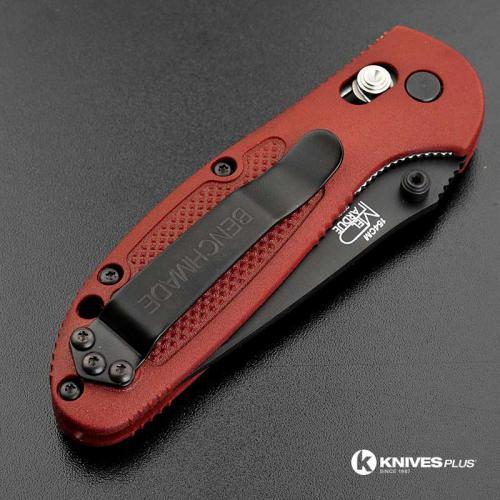 MODIFIED Benchmade Mini Griptilian 556BKSN - Black Blade - Blood Rit Dye Handle