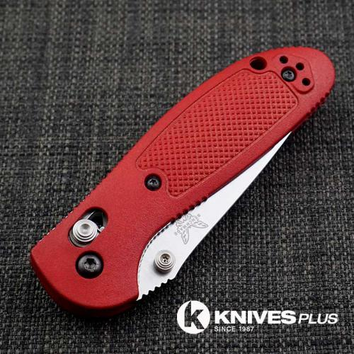 MODIFIED Benchmade Mini Griptilian Knife - Part Serrated - The Red Dragon - Satin