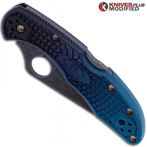 MODIFIED Spyderco K390 Delica Knife - Acid Stonewash - Heat Color Hardware - Rit Dye Fade