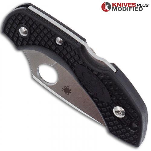 MODIFIED Spyderco S30V Dragonfly - Satin Blade - Black Rit Dyed Handle