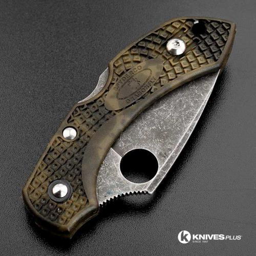 MODIFIED Spyderco Dragonfly 2 - ACID WASH - Zome Green Handle