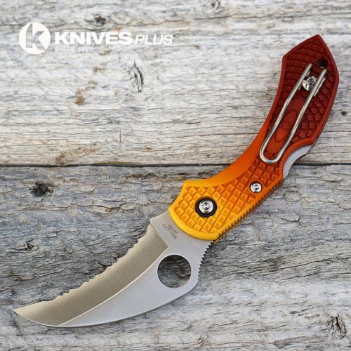 MODIFIED Spyderco Dragonfly Salt Hawkbill - BROWN Fade Rit Dye Handle