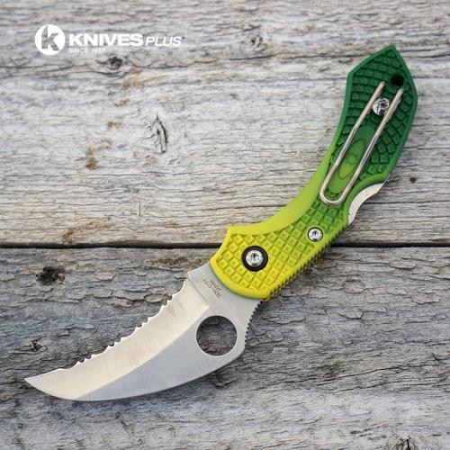 MODIFIED Spyderco Dragonfly Salt Hawkbill - GREEN Fade Rit Dye Handle