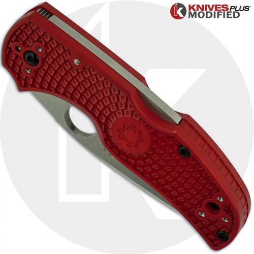 MODIFIED Spyderco Native 5 Salt LC200N Knife - The Red Dragon - Satin - Rit Dyed Handle