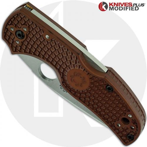 MODIFIED Spyderco Native 5 Salt LC200N Knife - Brown - Satin - Rit Dyed Handle