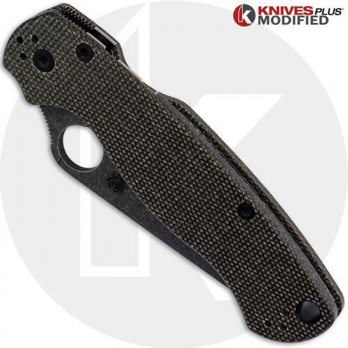 MODIFIED Spyderco Para Military 2 Knife with Acid Stonewash Blade + KP Dark Brown Micarta Scales + KP All Black Hardware