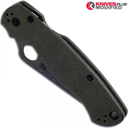 MODIFIED Spyderco Para Military 2 Knife with Acid Stonewash Blade + KP OD Green Micarta Scales + KP All Black Hardware