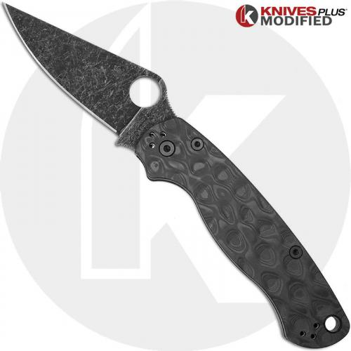 MODIFIED Spyderco Para Military 2 Knife with Acid Stonewash Blade + KP Damascus Pattern Carbon Fiber Scales + KP All Black Hardware