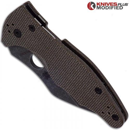 MODIFIED Spyderco Yojimbo 2 Knife with Acid Stonewash Blade + KP Brown Micarta Scales + KP All Black Hardware