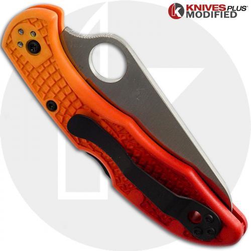 MODIFIED Spyderco Salt 2 - Serrated - RED Fade Rit Dye Handle