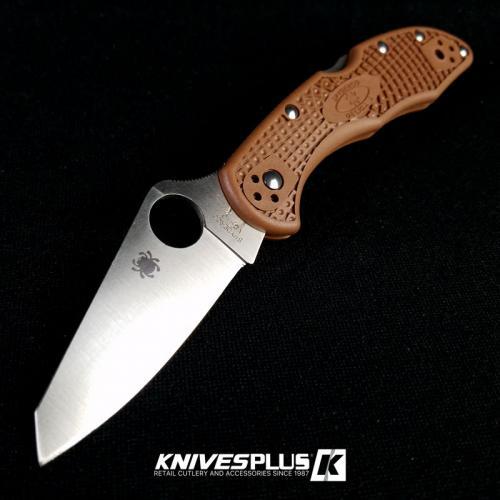 MODIFIED Spyderco Delica 4 - Regrind - Brown Handle