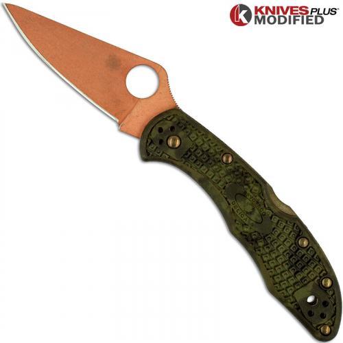 MODIFIED Spyderco Delica 4 Knife - CopperWash - Zome Handle