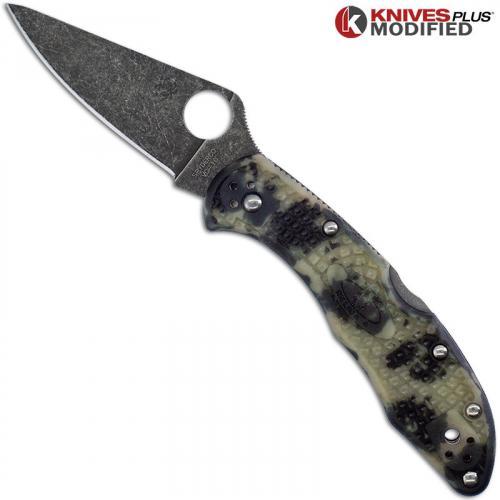 MODIFIED Spyderco Delica 4 Knife - Glow In The Dark Zome - Acid Stonewash