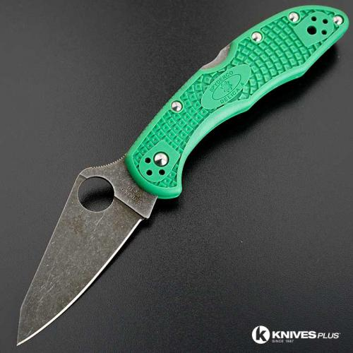 MODIFIED Spyderco Delica 4 - Acid Wash - Regrind - Green Handle/Purple Backspacer