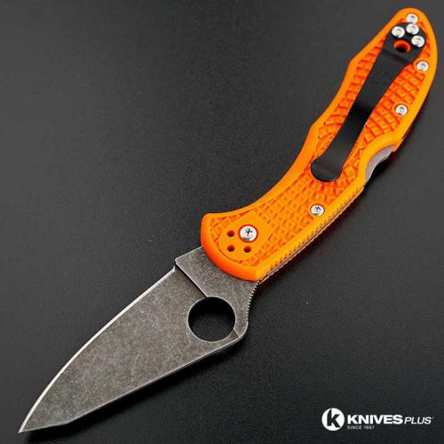 MODIFIED Spyderco Delica 4 - Acid Wash - Regrind - Orange Handle/Black Backspacer