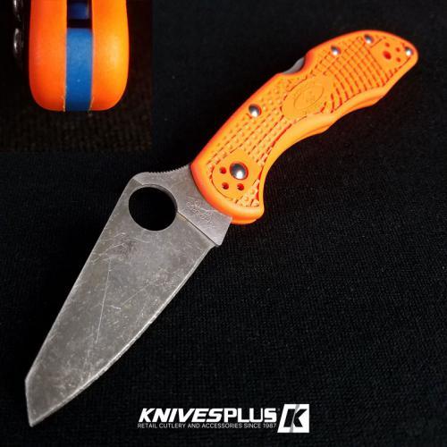 MODIFIED Spyderco Delica 4 - Acid Wash - Regrind - Orange Handle/Blue Backspacer