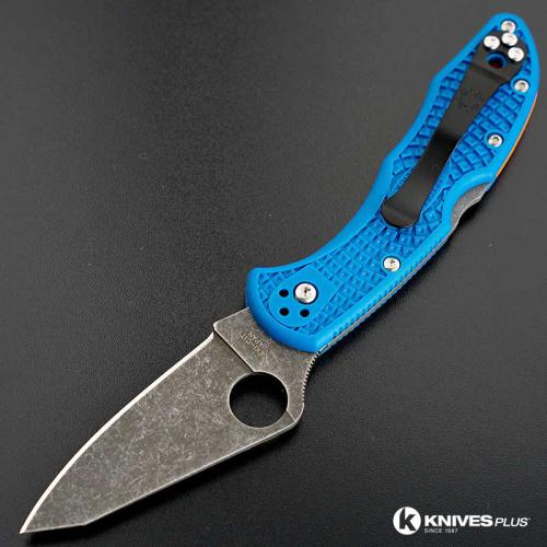 MODIFIED Spyderco Delica 4 - Acid Wash - Regrind - Blue Handle/Orange Backspacer