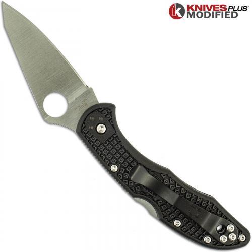 MODIFIED Spyderco Delica 4 - Regrind - Black Handle