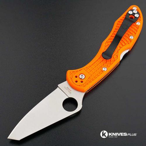 MODIFIED Spyderco Delica 4 - Regrind - Orange Handle