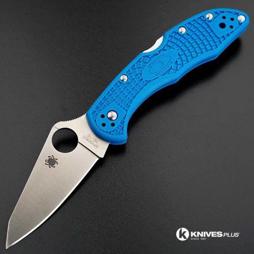 MODIFIED Spyderco Delica 4 - Regrind - Blue Handle