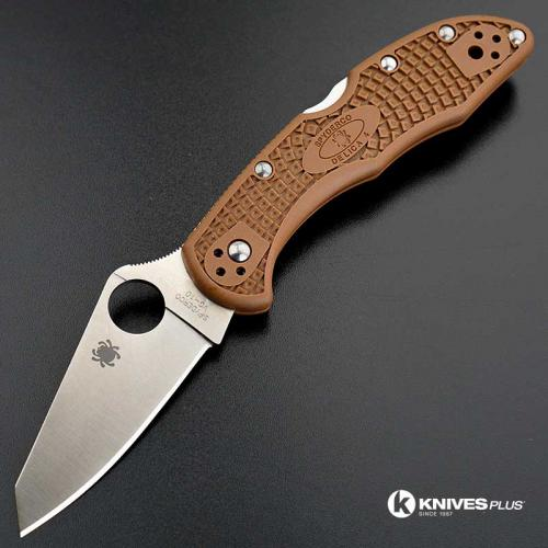 MODIFIED Spyderco Delica 4 - Regrind - Brown Handle