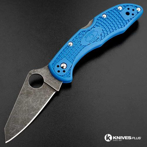MODIFIED Spyderco Delica 4 - Acid Wash - Regrind - Blue Handle/Black Backspacer