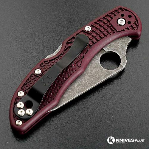 MODIFIED Spyderco Delica 4 - The Ron Burgundy - Acid Wash - Regrind - Rit Dyed Handle