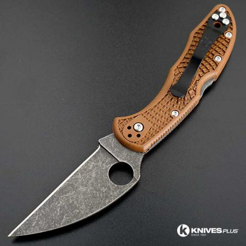 MODIFIED Spyderco Delica 4 - Wharncliffe - Acid Wash - Brown Handle