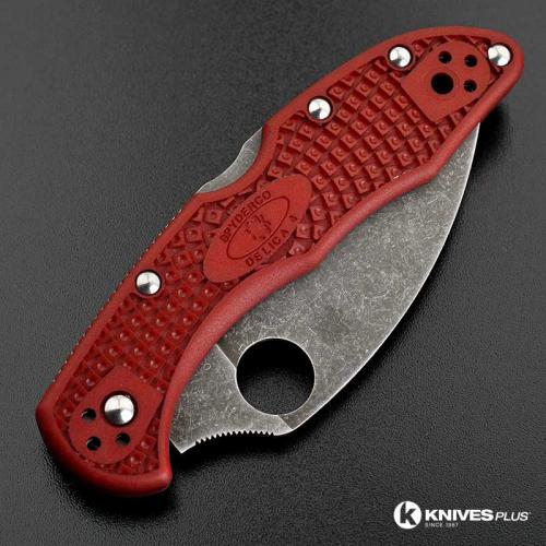 MODIFIED Spyderco Delica 4 - The Red Dragon - Wharncliffe - Acid Wash - Rit Dyed Handle