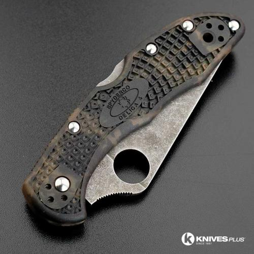 MODIFIED Spyderco Delica 4 - Acid Wash - Zome Handle