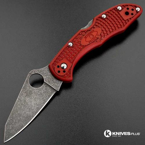 MODIFIED Spyderco Delica 4 - The Red Dragon - Acid Wash - Regrind - Rit Dyed Handle