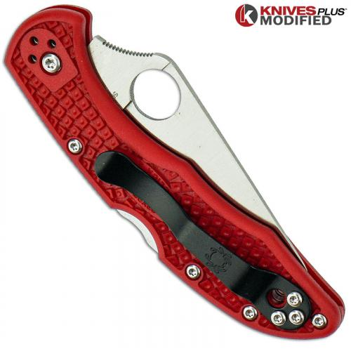 MODIFIED Spyderco Delica 4 - The Red Dragon - Satin - Rit Dyed Handle