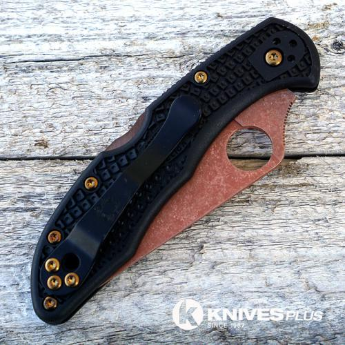 MODIFIED Spyderco Delica 4 - Copper Wash - Heat Color Hardware - Black Handle