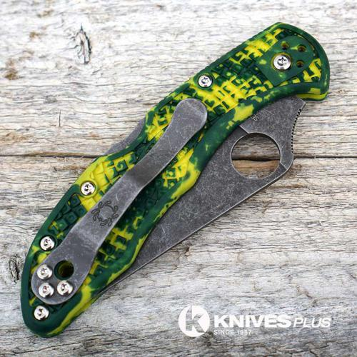 MODIFIED Spyderco Delica 4 - S30V - Acid Wash - Yellow Zome - Very Limited